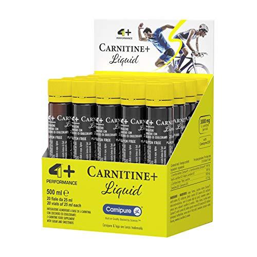 4+ NUTRITION - CARNITINE+ Liquid, Integratore Sportivo a Base di Carnitina, per Sportivi che Praticano Esercizio Fisico Intenso, 20 Fiale da 25 ml, Gusto Apple