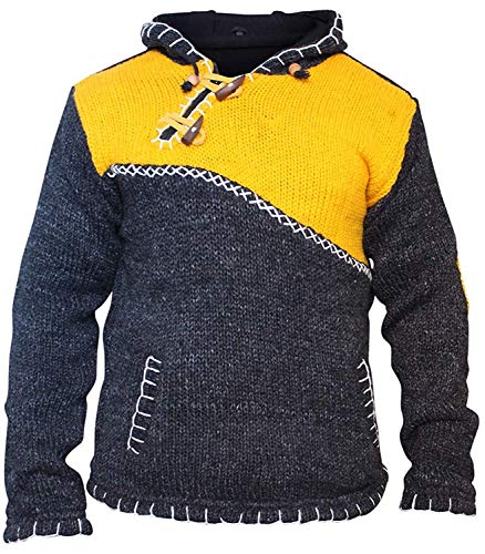 Kreuz mit Reißverschluss Halsausschnitt super warm Pulli Style Pullover, Hippy Boho aus Wolle Kapuzenpulli - Gelb, Small