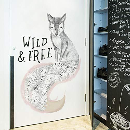 Sticker mural Sketch Fox Décor À La Maison Salon Chambre Chambre Art Bricolage Auto-Adhésif Peintures Murales Animaux Décor À La Maison