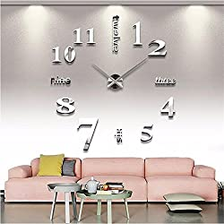 Mirror Surface Decorative Clock 3D DIY Wall Clock for Living Room Bedroom Office Hotel Wall Decoration (Silver)