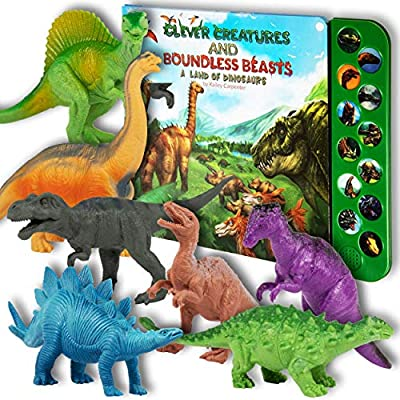 """Li'l Gen Dinosaur Toys for Boys and Girls 3 Years Old & Up - Realistic Looking 7"""" Dinosaurs, Pack of 12 Animal Dinosaur Figures with Dinosaur Sound Book (Dinosaur Set with Sound Book)"""