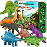 "Li l-Gen Dinosaur Toys for Boys and Girls 3 Years Old & Up - Realistic Looking 7"" Dinosaurs, Pack of 12 Animal Dinosaur Figures with Dinosaur Sound Book (Dinosaur Set with Sound Book)"