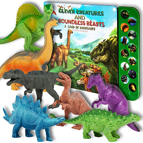 Li'l-Gen Dinosaur Toys for Boys and Girls 3 Years Old & Up - Realistic Looking 7' Dinosaurs, Pack of 12 Animal Dinosaur Figures with Dinosaur Sound Book (Dinosaur Set with Sound Book)