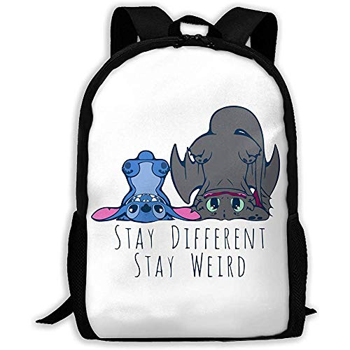 Funny Toothless Dragon and Stitch Unisex Rucksack Shoulder Bag School Rucksack Travel Bags Laptop Rucksack