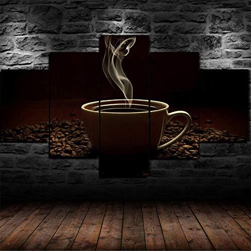 Cuadros Decoracion Salon Modernos 5 Piezas Lienzo Grandes XXL Murales Pared Hogar Pasillo Decor Arte Pared Foto Innovador Regalo Habas de taza de café caliente (con Marco)