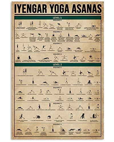 Póster de Azsteel Iyengar Yoga Asanas Gifts for Yoga Lovers Vertical