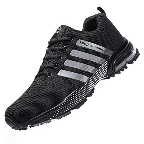 A Mens Running Shoes Fashion Breathable Sneakers Lightweight Tennis Outdoor Sport Casual Walking Athletic for Men(9.5,Black)