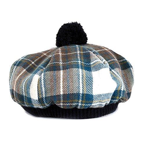 Chapeau tartan bleu béret écossais de qualité supérieure. Laine d'agneau brossée. Disponibles dans différents tartans.