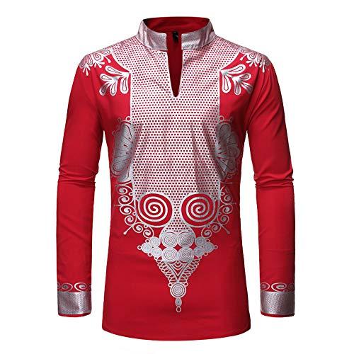 Camisa de Jersey de Cuello Alto para Hombre, Camisa básica Informal de Manga Larga con Bloqueo de Color con Estampado de Moda, Camisa básica de Personalidad al Aire Libre XL