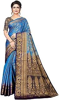 Neerav Exports Banarasi Kanjivaram Silk With Rich Pallu Traditional Jacquard Saree (Blue)