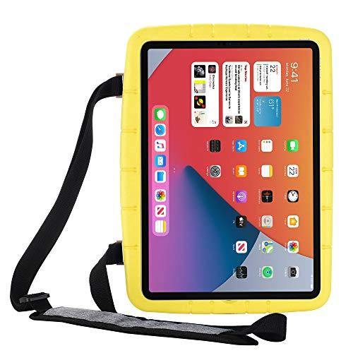 Funda Protectora para iPad 8th Gen 2020, Nuevo iPad 2019 7th Gen 10.2', Funda Protectora Ligera portátil a Prueba de Golpes para niños, con función de Soporte y Correa para el Hombro(Amarillo)