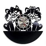 wtnhz LED-Reloj de Pared de Gato Lindo diseño Moderno decoración de Sala de Estar Pegatina 3D Reloj de Registro de Vinilo Reloj de Pared decoración del hogar Mudo