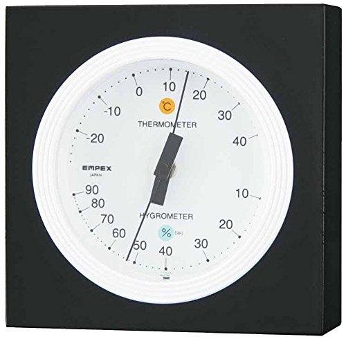 エンペックス気象計 温度湿度計 MONO温湿度計 置き用 日本製 ホワイト MN-4821