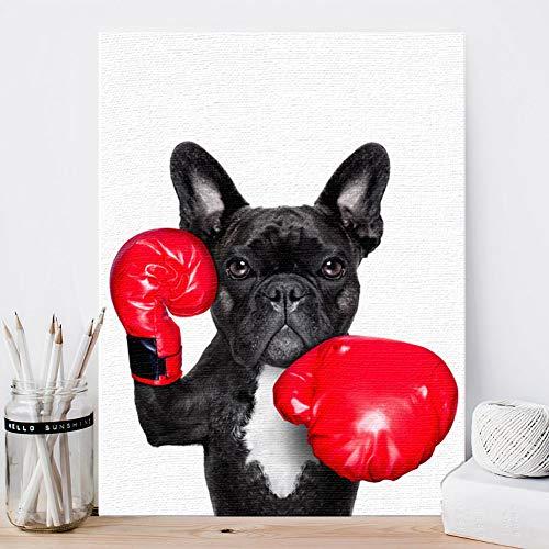 KINYNE Perros De Mascotas Pintura Negro Brindle Bulldog Francés Perro Cuadro...