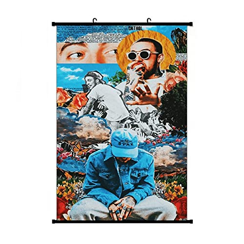 Mac Miller Portrait Miller Collage Poster Anime Living Room Bedroom Home Decoration Gift Fabric Wall Scroll Poster (16x24) Inches