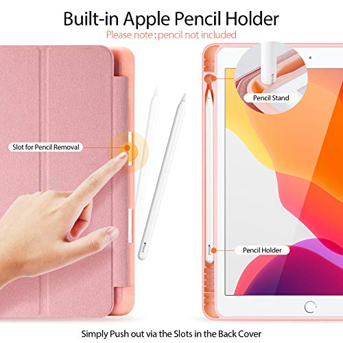 iPad10.2ケース手帳型、iPad7世代ケース耐衝撃カバー、高級PUレザースタンド機能スマートカバーDUXDUCIS(iPad第7世代用、ピンク)