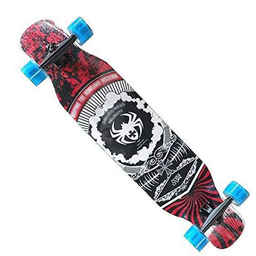 46-Zoll-Longboard, Junge, Mädchen, Ahorn Profi Skateboard, Skateboard QIANGQIANG (Color : Brown, Size : S)