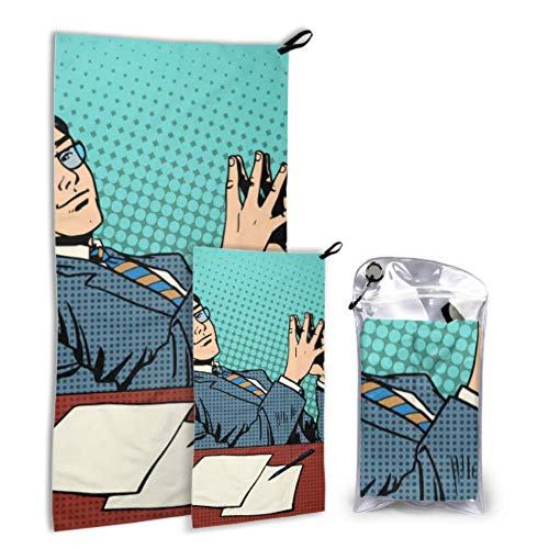 LONGYUU Business Concept Startup Businessmen 2er-Pack Mikrofaser-Bad-Strandtücher Herren-Strandtuch-Set Schnelltrocknend Ideal für Reisen im Fitnessstudio Backpacking Yoga Fitnes