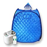 Smartmak Portable Sauna Kit, one Person Full Body at Home Spa Hat Tent, Include 2L Steamer with Remote Control for Detox & Weight Loss US Plug- Blue