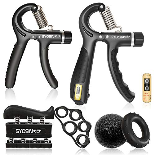 SYOSIN Handtrainer Fingertrainer (6er-Set), mit Zählfunktion Handgelenk-Unterarm-Handtrainer, Fingerübungs-Verstellbarer Greifer für die Wiederherstellung von Verletzungen und Muskelaufbau