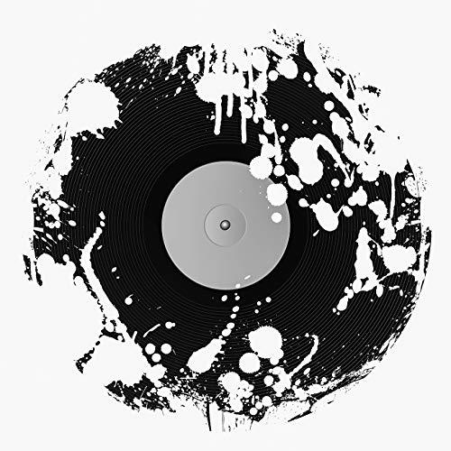 Fototapete selbstklebend Schallplatte - schwarz weiß 100x100 cm - Bildtapete Fotoposter Poster - DJ Audio Record