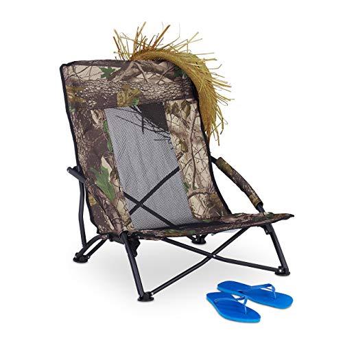 Relaxdays, Verde, Silla Plegable con Bolsa para Playa, Camping, Jardín y Pesca, Acero y Plástico, 70 x 57 x 55 cm
