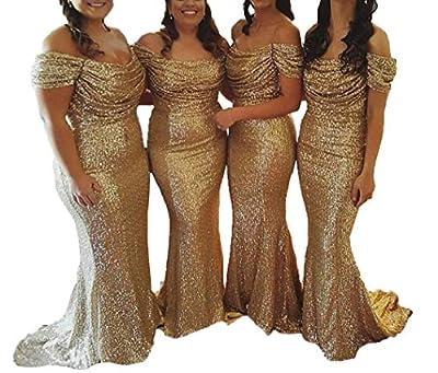 Bridesmaid Dress Sequin Prom Dresses Long Wedding Party Dresses Mermaid Bridesmaid Dresses Off Shoulder Gold