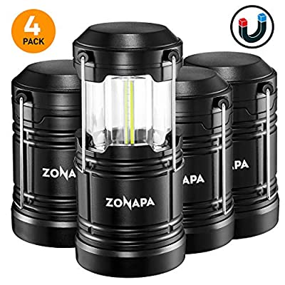 ZONAPA Outdoor LED Camping Lantern w/Magnetic Base (4-Pack) Battery Powered, Portable LED Lantern   Ultra-Bright Camp or Emergency Lighting   Indoor, Outdoor Hanging Hook