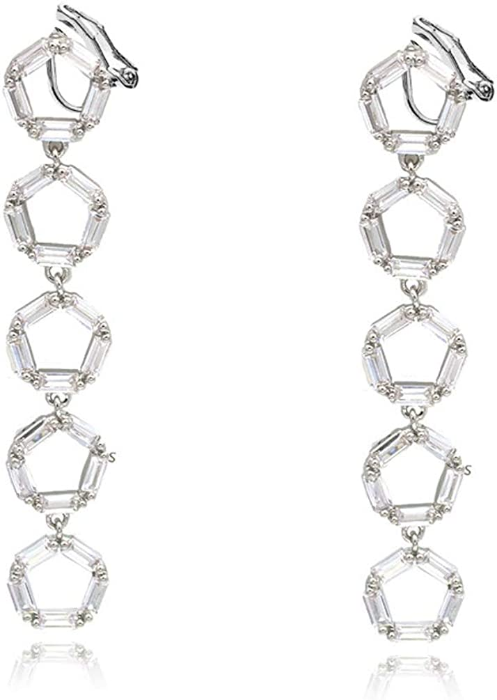 Clip on Dangle Earrings Clear Crystal Rhinestone Circle Drop Long Tassel Prom for Women Girl no Piecred