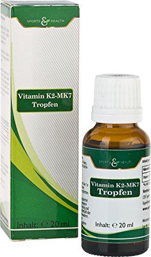 Vitamin K2 MK7 Tropfen All Trans Mit 200µg Pro Tagesdosierung, Hochdosiert Und Ohne Zusatzstoffe, Höchste Bioverfügbarkeit Mit 20 ml In Flüssigform Und Made In Germany