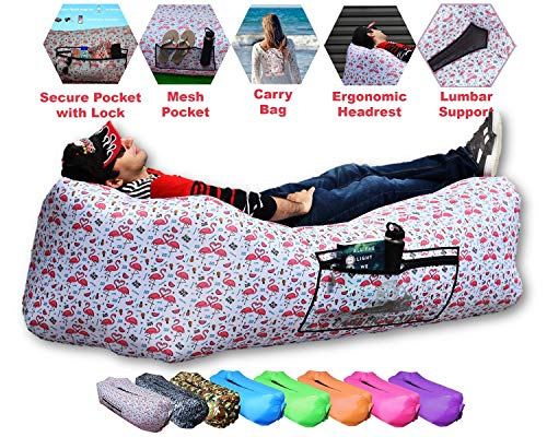 CAMPERS LAIR 2020 Upgraded Flamingo Air Lounger: Neck & Back Support & Huge Pockets. The Widest & Most Comfortable Inflatable Lounger. The Air Hammock Inflatable Chair for Camping, Beach/Pool & Picnic