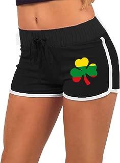 Women's Sexy Hot Pants Ethiopian Flag Shamrock Low Waist Sport Athletic Exercise Shorts