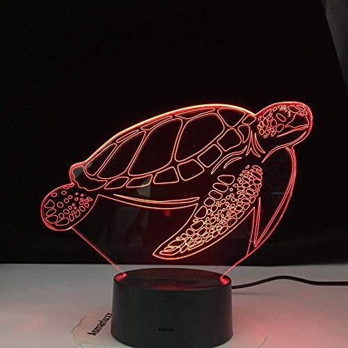 Lámpara de ilusión 3D Sensor táctil de luz nocturna LED 7 cambio de color decorativo Niños Niños Kit de bebé Tortuga marina Los mejores regalos de vacaciones de cumpleaños para niños