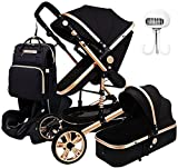 JCXT 3 in 1 Baby Stroller Carriage, Carseat and Strollers Combo Foldable Luxury Pushchair Stroller Shock Absorption Springs High View Pram with Mommy Bag and Stroller Fan
