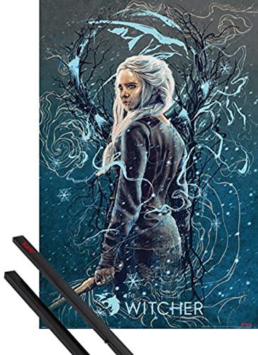 1art1 The Witcher Poster (91x61 cm) Ciri l'Hirondelle Et Kit De Fixation Noir