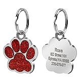 Collar con colgante de pata de mascota Accesorio de collar de identificación de perro y gato grabado personalizado con etiqueta de nombre de acero inoxidable colgante anti-pérdida-2-Tamaño libr