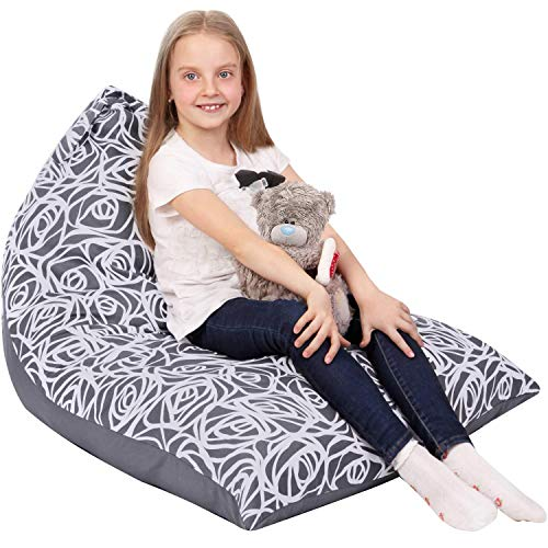 5 STARS UNITED Stuffed Animal Storage Bean Bag - Cover Only - Large Triangle Beanbag Chair for Kids - 150+ Plush Toys Holder - Floor Pillows Organizer for Girls - 100% Cotton Canvas - Grey Roses