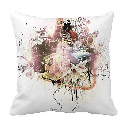 Perfecone - Funda de almohada de algodón para el hogar, diseño de campus de fin de semana y noche de vida de sofá y coche, 1 paquete de 60 cm x 60 cm