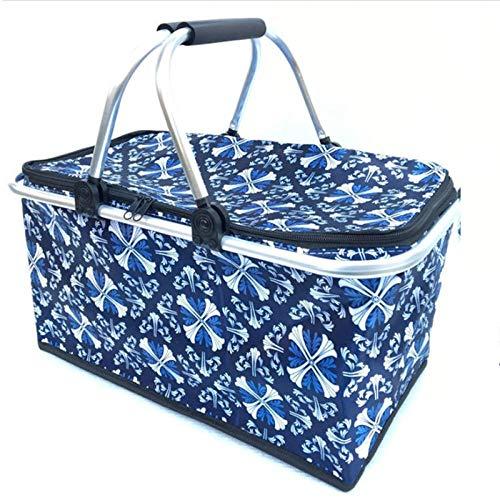Hamper Storage Basket,Fast Food Bag Insulation Package refrigerated Box Folding Shopping Basket-H,Picnic Basket