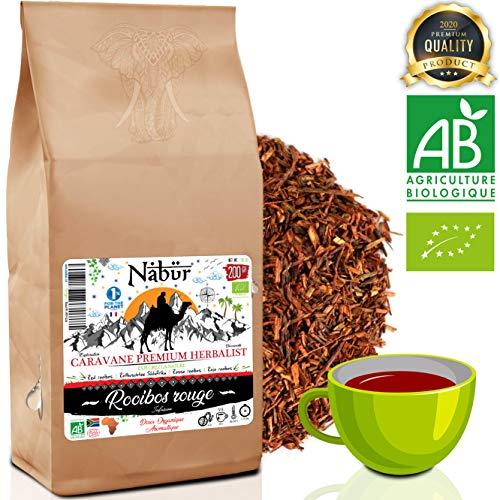 Rooibos rouge BIO 200Gr ⭐ Nabür ⭐ Thé Roibos Riche, Doux, Relaxant, Certifié BIO Ecocert ⭐ Afrique du Sud, 0% Théine/Caféine