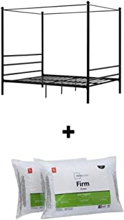 Mainstays Easy to Assemble Modern Design Sturdy Metal Frame Four Post Canopy Bed (Queen, Black)