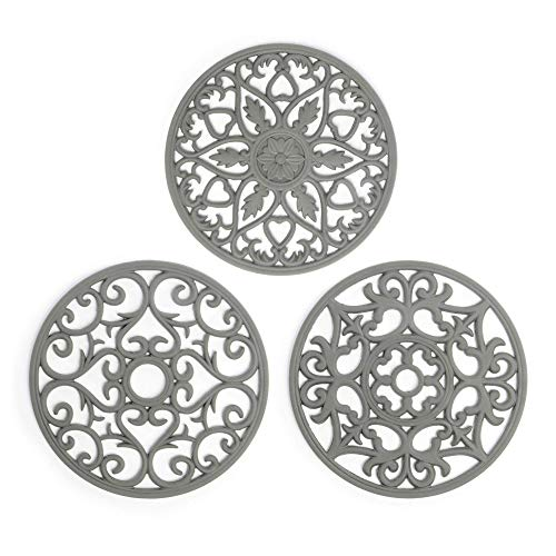 Silicone Trivets - Set of 3 | Pan Stands for Worktops & Saucepans | Hot Pan Mat | Teapot Stand | Table Mats | For Kitchen | Pot Stand | Pukkr (Grey)