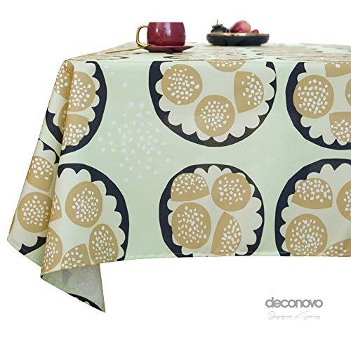 Deconovo Lotuseffekt Tischwäsche Wasserabweisend Tischdecke Tischtuch 130x280 cm Hellgrün