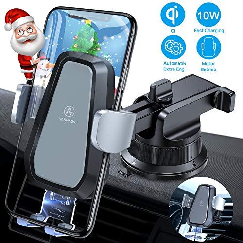 VANMASS Automatisch Wireless Charger Auto Handyhalterung Motor Betrieb 10W mit Auto Ladegerät Kfz Qi Ladestation Auto Lüftung & Saugnapfshandyhalter für iPhone 11/XS/XR Samsung S20/S10, alle Qi Geräte