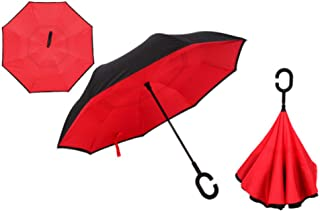 Drop Transport Windproof Reverse Folding Double Inverted Umbrella Self Zzbiao (Color : Red)