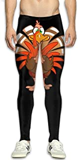 OIIH08-0 Clip Art Thanksgiving Turkey Men's Compression Leggings Base Under Layer Dry Cool Running Pants for Men