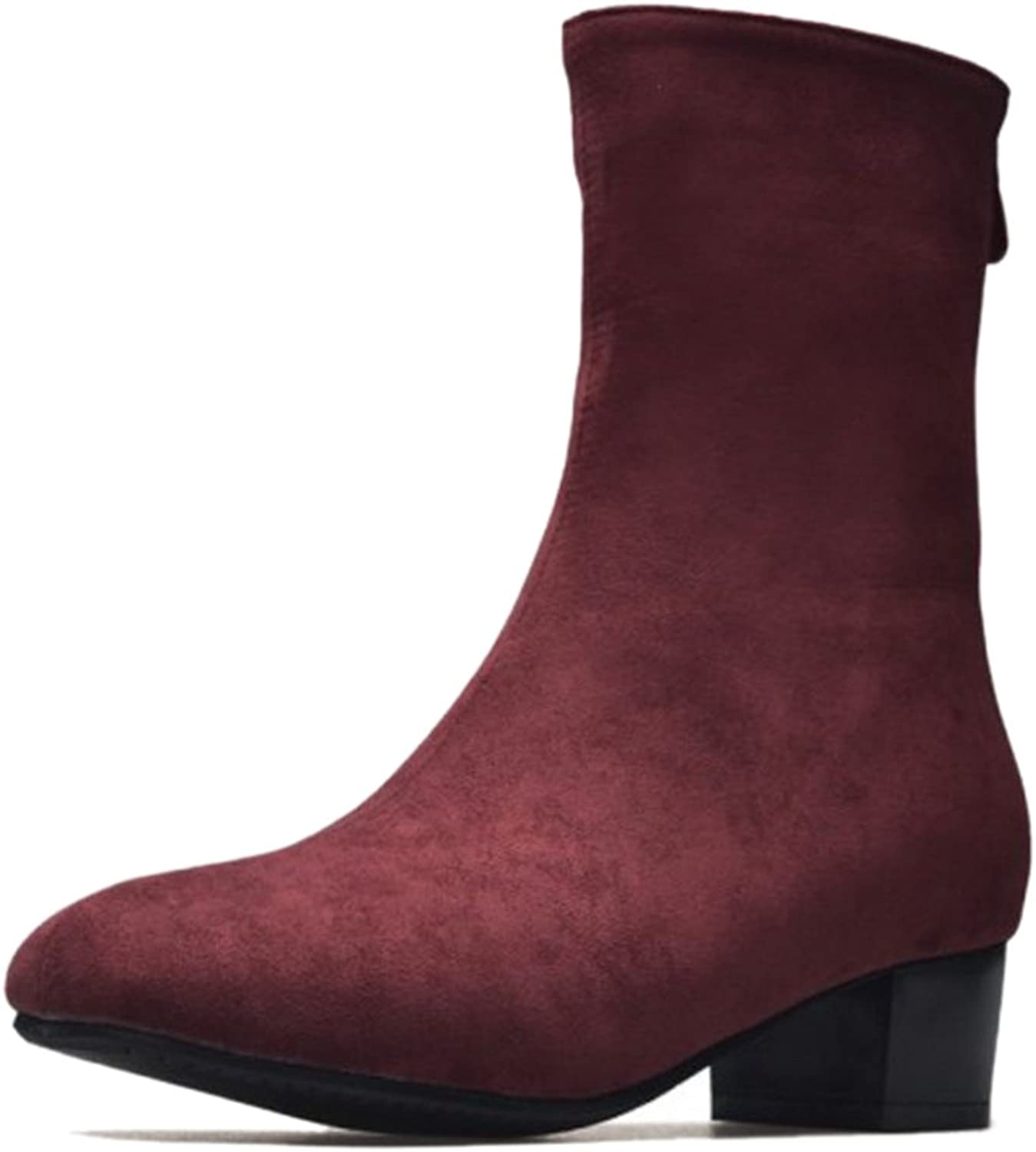 CUTEHEELS Women Ankle Boots with Low Chunky Heel and Round Toe
