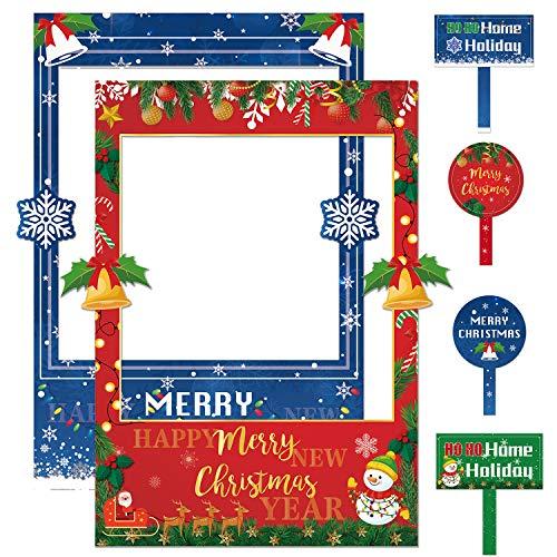 JoyTplay 2 in 1 Doppi Lati Buon Natale Cornice per Cabina Fotografica e Puntelli Photo Booth per Le Decorazioni di Festa di Buon Natale e Capodanno
