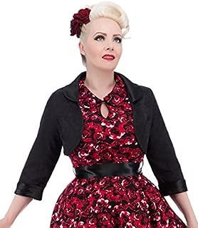 Hearts & Roses London Women's Black Brocade Bolero