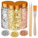 PLULON 3 Flaschen Vergoldungsfolienflocken, Blattgold, Silberfolienflocken, Kupfer-Metallic-Blatt mit Pinsel und Bambuspinzette
